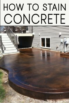 Learn how to stain concrete correctly! Take a DIY summer project and make it beautiful with these great tips and steps! Learn how to stain concrete correctly! Take a DIY summer project and make it beautiful with these great tips and steps! Diy Concrete Stain, Concrete Projects, Stained Concrete Patios, Painting Concrete Porch, Painted Concrete Steps, Stained Concrete Driveway, Painted Cement Floors, Stained Concrete Countertops, Painted Rug