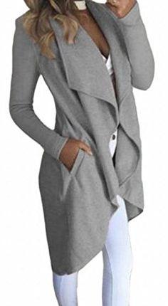 5a025e40c6a0bc Winwinus Women s Autumn and Winter Long Sleeve Pockets Lapel Cardigan Coat  Gray XS
