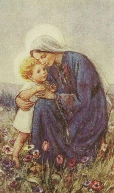 The Christ Child stood at Mary's Knee by GK Chesterton - art by Cicely Mary Barker - Religious Works - Christmas Card Design for GFS 1932 Cicely Mary Barker, Blessed Mother Mary, Blessed Virgin Mary, Catholic Art, Religious Art, Religious Paintings, Roman Catholic, La Madone, Vintage Holy Cards