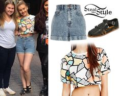 Perrie Edwards: Printed Tee, Denim Shorts | Steal Her Style