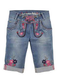 Marjo folklorebermuda met bloemborduursel, voor dames jeans blauw denim spijkerstof blue