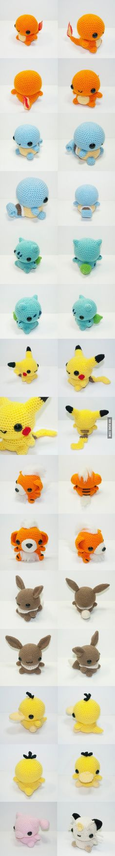 Some knitted Pokémons