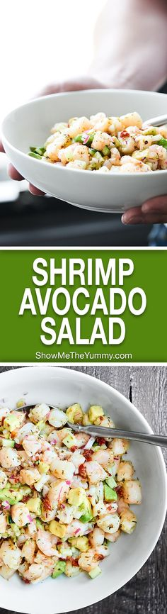 Shrimp Avocado Salad - Perfect for hot summer days! It's an EASY, cold, no-cook, healthy, refreshing salad full of shrimp, avocado, cucumbers, sun dried tomatoes, lemon juice, spices, and more!