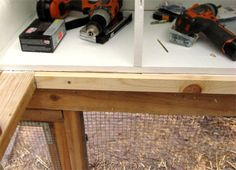 Attaching a one-by-two to the outer horizontal two-by-four creates a lip to support your henhouse floor. Chicken Coop Kit, Chicken Coup, Chicken Coop Designs, Building A Chicken Coop, Chicken Runs, Chicken Nesting Boxes, Hen House, Chickens Backyard, Projects To Try