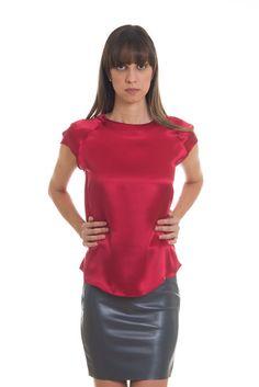 Blusa em Chanel de Seda Lisa - Vermelho Escuro - Atelier Mine