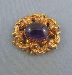 Beautiful Victorian Amethyst Set Brooch, 15K Gold - C 1867