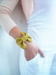 Leather cuff bow bracelet in beautiful autumn yellow shiny color. High quality soft Italian genuine leather. This cuff fits a 5 to 7 inch wrist. The