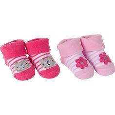 85357df4e1b8a3 Gerber 2 Pack Pink Assorted Pattern Bootie Socks