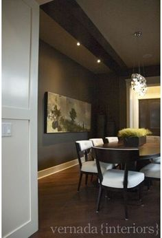 Dining rooms are good rooms for dark colors. Think intimate dinner parties and candlelight.