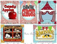 Carnival Big Top Circus 15 Tags Digital Collage Sheet - candy apples popcorn elephant greeting postcard ATC ACEO gift tags- U Print sh88-b. $4.98, via Etsy.