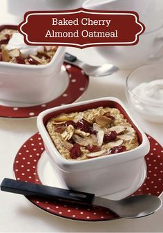 Baked Cherry Almond Oatmeal, made with Quaker® Oats, is a flavorful and delicious way to start your morning!