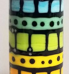 Rainbow Blocks & Dots Barrel This bead measures 40mm hole to