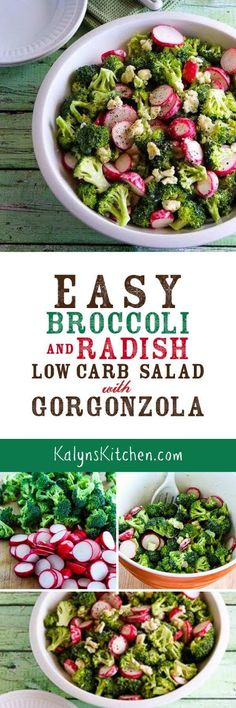 Easy Broccoli and Radish Low-Carb Salad with Gorgonzola is perfect for a crunchy low-carb salad any time of year!  If you like these ingredients you'll love this ultra-easy salad!  [found on KalynsKitchen.com] #KalynsKitchen #BroccoliSaladRecipe #LowCarbSalad #LowCarbBroccoliSalad #LowCarbHolidaySalad
