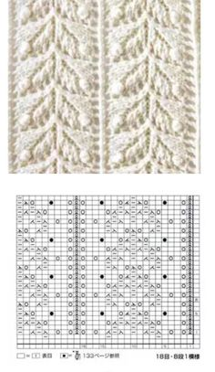 Knitting Stiches, Crochet Stitches Patterns, Sweater Knitting Patterns, Knitting Charts, Knitting Designs, Baby Knitting, Stitch Patterns, Crochet Leaves, Knitted Blankets
