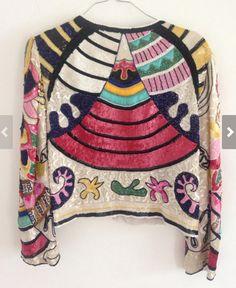Rare Handmade Frank Usher Sequin Jacket Top #vintagefashion #vintage #sequin #jacket #1980s #1990s #frank #usher