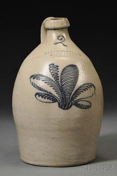 Nice F. Stetzenmeyer & G. Goetzman Cobalt-decorated Stoneware Jug