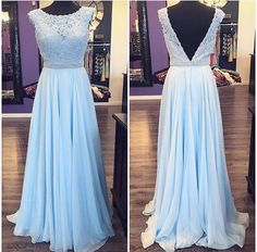 Blue Chiffon with Lace Appliqued Prom Dresses,Long Prom Dresses