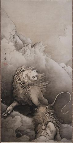 Shishi zu  / Lion, -- by Kanō Hōgai ( 1828 - 1888) was a 19th-century Japanese painter of the Kanō school. One of the last of the Kanō painters, Hōgai's works reflect the deep traditions of the school, but also at times show hints of experimentation with Western methods and styles. Like his predecessors, Hōgai painted a variety of subjects, but is perhaps most well known for his paintings of falcons, and of dragons.