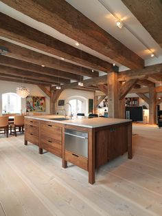 Old warehouse renovation by Dinesen Douglas. Love the wood details. Warehouse Renovation, Warehouse Home, Brown Kitchens, Home Kitchens, Rustic Kitchens, Piece A Vivre, Modern Kitchen Design, Beautiful Kitchens, Home Remodeling