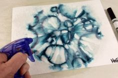 marker (not waterproof) and coffee filter art lesson