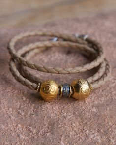 The Olivia Wrap Bracelet ?? leather + gold vermeil beads