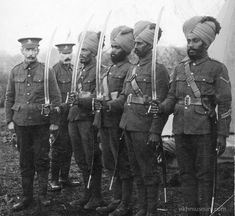 Sikh and Indian soldiers with drawn swords, France, ca. 1915. The sword has a special significance for Sikhs. To learn more see the SikhMuseum.com Exhibit - Doctor Brighton's Pavilion
