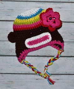 infant sock monkey crochet hat by SweetBabiesinYarn on Etsy, $22.00