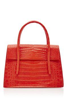 Coral Crocodile Shoulder Bag by Nancy Gonzalez Fashion Handbags, Tote Handbags, Purses And Handbags, Fashion Bags, Leather Handbags, Kelly Bag, Bags 2017, Over The Shoulder Bags, Nancy Gonzalez