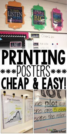 Did you know you can print big, beautiful posters for your classroom using your own computer and printer! Check out my easy tutorial and NEVER spend money again to decorate your room! ✳APPRENDRE LA PEINTURE FACILEMENT ET L'ART✳ Classroom Hacks, New Classroom, Classroom Setup, Science Classroom Decorations, Decorating High School Classroom, Computer Classroom Decor, Music Classroom Posters, English Classroom Posters, English Classroom Decor