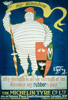 """At the Lyon Universal Exhibition in the Michelin brothers noticed an evocatively-shaped pile of tyres. """"Look, with arms it would make a man. Retro Poster, Retro Ads, Vintage Advertisements, Vintage Ads, Michelin Man, Michelin Tires, Logo Design Liebe, Art Nouveau Poster, Vintage Dance"""