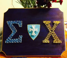 Sigma Chi string art, this was my first attempt at string art. I wanted to make something unique, so I made this fraternity craft for my boyfriend