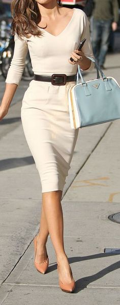 Classic pencil dress but the bag and shoes bring it to life