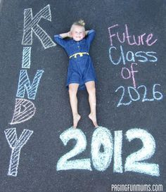 Great way to document first day of school or Kindergarten - could add what they want to be when they grow up. Sidewalk chalk.