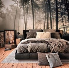 Do you guys like this space? Via – Forest Bedroom is designed and visualized… Do you guys like this space? Via – Forest Bedroom is designed and. Bedroom Inspo, Home Bedroom, Master Bedroom, Bedroom Decor, Bedroom Inspiration, Gothic Bedroom, Bedroom Ideas, Loft Style Bedroom, 1980s Bedroom