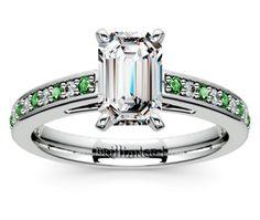 Emerald Cathedral Diamond & Emerald Gemstone Engagement Ring in Platinum  http://www.brilliance.com/engagement-rings/cathedral-diamond-emerald-gemstone-ring-platinum