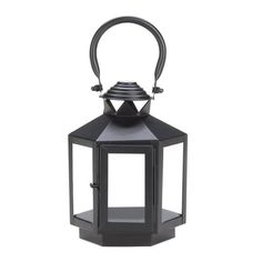 This compact candle lantern packs a lot of personality! Six clear glass panels are set in a black metal frame that's topped with an oversized hanging loop. Set