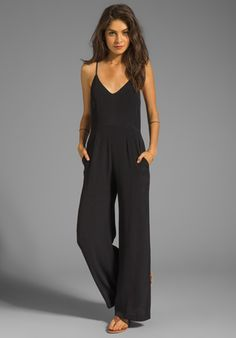 LINE & DOT Deep V Jumpsuit in Black at Revolve Clothing