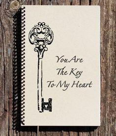 You Are The Key To My Heart- Key Notebook - Love Notebook - Gift for Fiance - Boyfriend - Girlfriend - gifts for boyfriend Birthday Wishes Boy, Birthday Wishes For Boyfriend, Birthday Gifts, Heart Journal, Love Journal, Key To My Heart, Love Heart, Heart Diy, Boyfriend Girlfriend