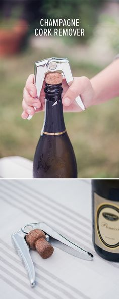 Easily remove stubborn champagne corks with the help of this durable, powerful dual-lever champagne cork remover from Viski. Made from durable zinc alloy. Champagne Corks, Bar Tools, The Help, Bottle, Flask, Jars