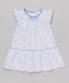 Look at this #zulilyfind! Blue Flower Burst Smocked Drop-Waist Dress - Infant & Toddler by La Fleur & Le Papillon #zulilyfinds