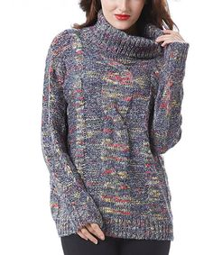 Simply Couture Blue Space-Dye Cable-Knit Turtleneck | zulily