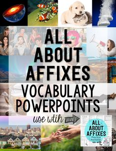 Prefixes and Suffixes PowerPoints! 25 presentations that cover over 60 Affixes and 250 words. Improve your students' vocabulary with vivid imagery. 6th Grade Ela, 4th Grade Reading, Sixth Grade, Fourth Grade, Third Grade, Teaching Critical Thinking, Teaching Reading, Teaching Ideas, Teacher Resources