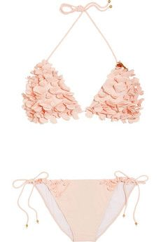 Miu Miu Floral appliqué triangle bikini | NET-A-PORTE If you're searching for ultra feminine swimwear styles, look no further than Miu Miu's blush triangle bikini. Appliquéd with clusters of ruffled flowers, this sweet design has a beautifully carefree appeal. Show it off by the shore with printed shorts and leather sandals.