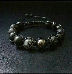 10mm Gemstone Shamballa Macrame Adjustable Straps Bracelet, Men Bracelet, Black Bracelet, Healing Shamballa, Power Stone Shamballa Men gifts by ZenYogastones on Etsy