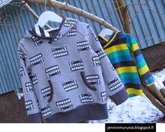 Boys hoodie. Fabric: Nosh organics - bussit