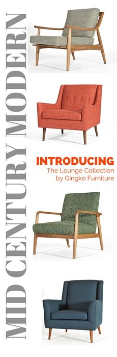 Gingko's mid-century modern lounge chairs are available in 6 rich colorways with solid Walnut frames.  See the collection at www.gingkofurniture.com or VISIT our SF and Mountain View showrooms today.