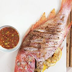 Grilled Seafood Recipes   Grilled Whole Red Snapper with Citrus-Ginger Hot Sauce   CookingLight.com