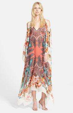 Etro Print Cold Shoulder Silk Caftan Dress