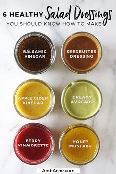 6 Healthy Salad Dressing Recipes You Should Know How To Make — Mom Printables - Kids Crafts, Family Recipes, and Motherhood salads Six Healthy Homemade Salad Dressings — Andianne Healthy Salads, Healthy Recipes, Healthy Drinks, Healthy Eating, Healthy Food, Fast Recipes, Raw Food, Healthy Chicken, Plat Vegan