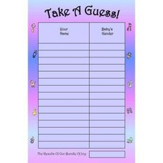 Gender Reveal Guessing Game & Keepsake, Small, 15 Players, Purple, Blue & Pink